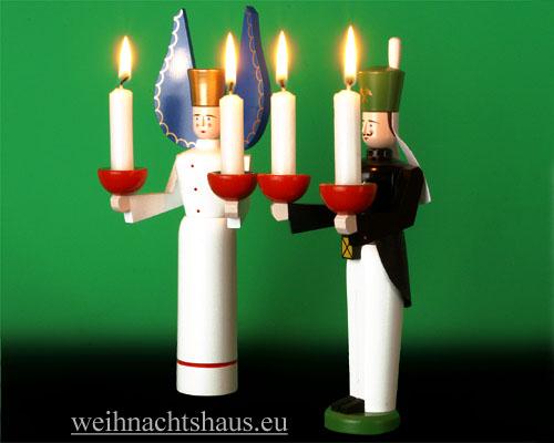 Seiffen Weihnachtshaus - <!--01-->Engel und Bergmann Erzgebirge 24cm für Kerzen - Bild 2