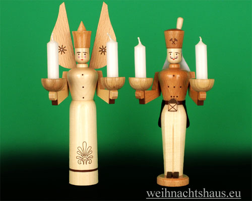 Seiffen Weihnachtshaus - <!--01-->Engel und Bergmann Erzgebirge 24 cm natur für Kerzen - Bild 1