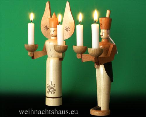 Seiffen Weihnachtshaus - <!--01-->Engel und Bergmann Erzgebirge 24 cm natur für Kerzen - Bild 2