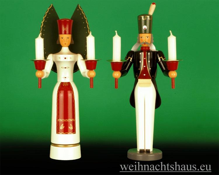 Seiffen Weihnachtshaus - <!--01-->Engel und Bergmann Erzgebirge 29 cm für Kerzen - Bild 1