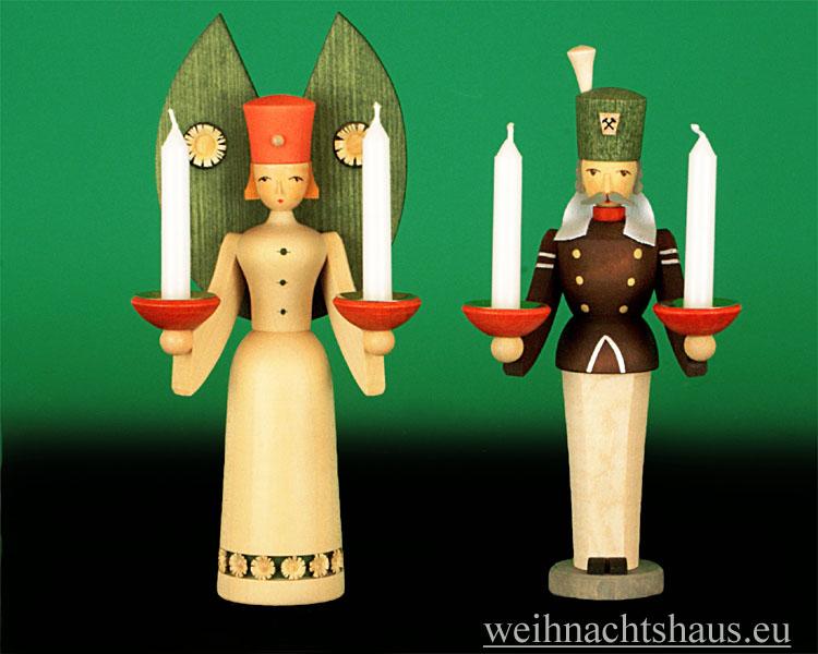 Seiffen Weihnachtshaus - <!--01-->Engel und Bergmann Erzgebirge 20 cm  für Kerzen - Bild 1