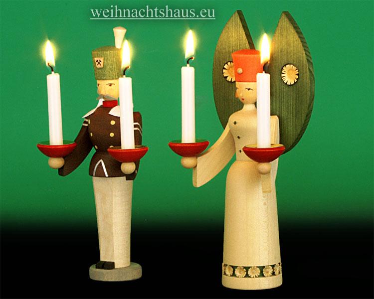 Seiffen Weihnachtshaus - <!--01-->Engel und Bergmann Erzgebirge 20 cm  für Kerzen - Bild 2