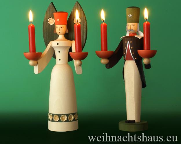 Seiffen Weihnachtshaus - <!--01-->Engel und Bergmann Erzgebirge 29 cm  für Kerzen - Bild 2