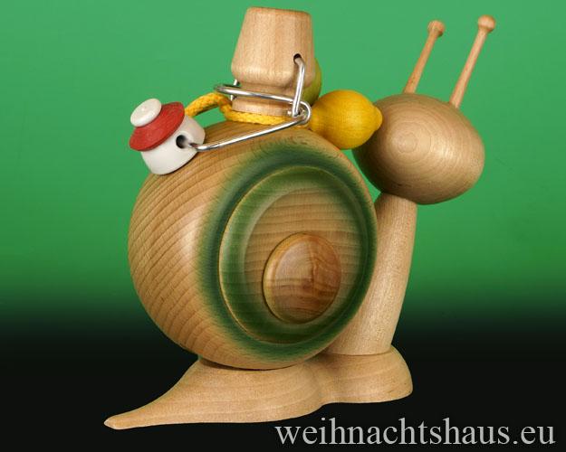 Seiffen Weihnachtshaus - <!--11-->Räucherschnecke Erzgebirge Brauseschnecke - Bild 2