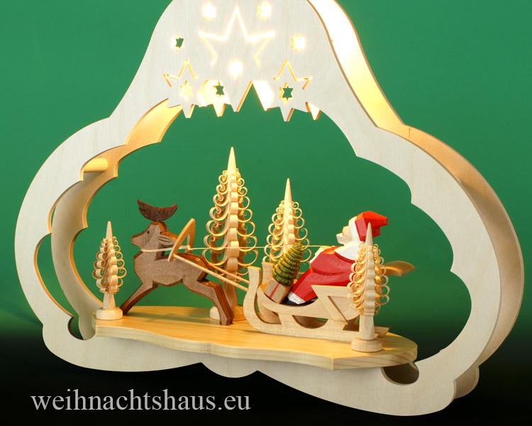 Seiffen Weihnachtshaus - Fensterbild bel.  Weihnachtsschlitten - Bild 2