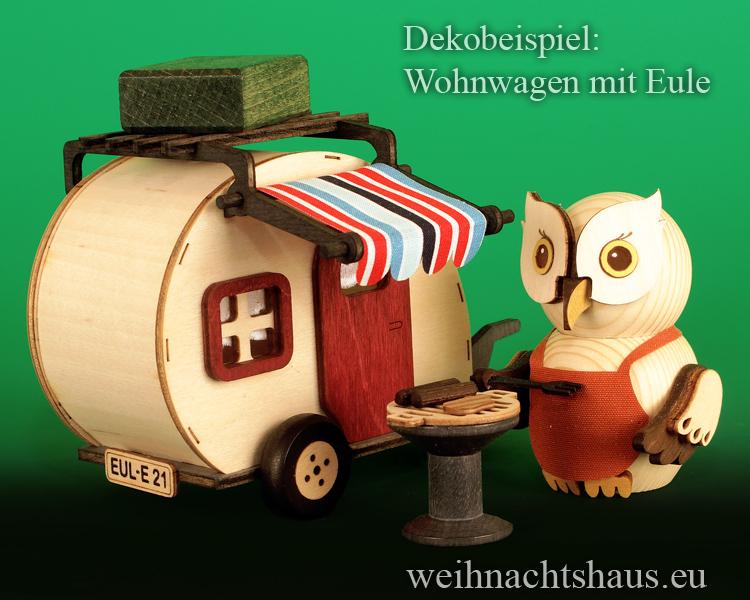 Räucherhaus Wohnwagen Eule Neuheit 2021 Kuhnert Neu Holzeulen Wohnwagen für Eulen Kuhnerteulen Erzgebirge Holz