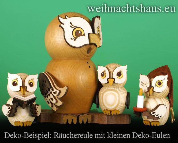Seiffen Weihnachtshaus - <!--11-->Räuchermann Eule aus Holz Erzgebirge mit Schlitten - Bild 3