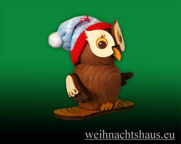 Seiffen Weihnachtshaus - Eule  klein  Eule mit Snowboard - Bild 1