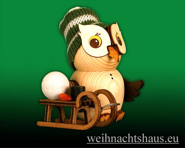 Seiffen Weihnachtshaus - Eule    klein Eule mit Schlitten Neu 2020 - Bild 1