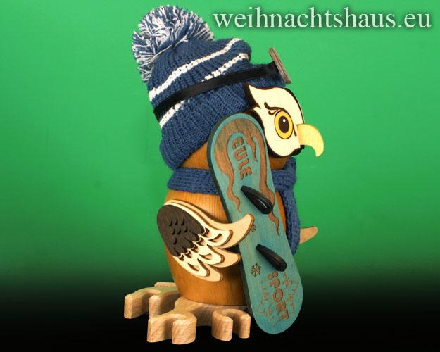 Seiffen Weihnachtshaus - <!--11-->Räuchermann Eule aus Holz Erzgebirge Snowboard - Bild 2