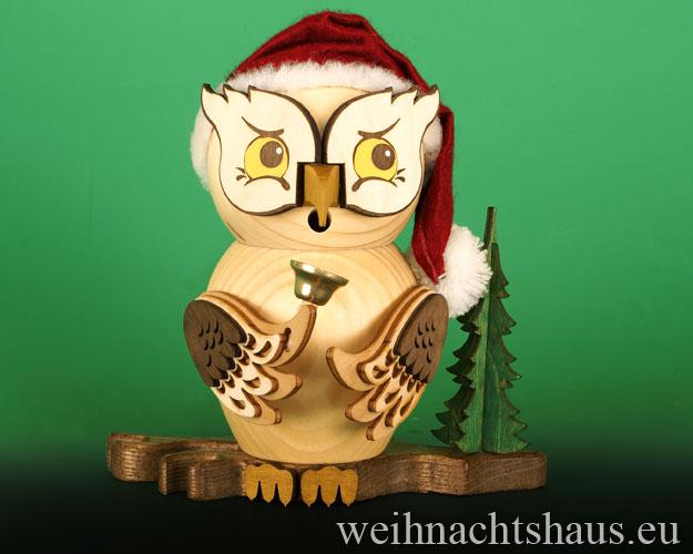 Räuchermann Eule Räuchereule Eulen aus Holz Erzgebirge Eulenfigur Weihnachtseule Weihnachtsmann Weihnachtsmanneule