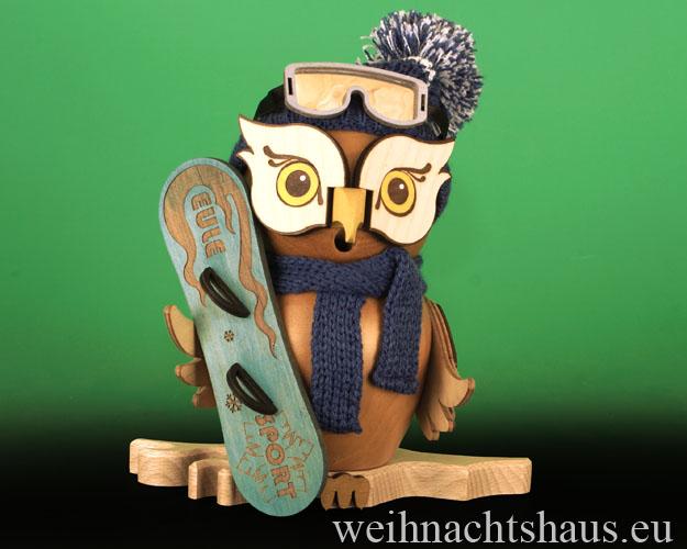 Seiffen Weihnachtshaus - <!--11-->Räuchermann Eule aus Holz Erzgebirge Snowboard - Bild 1