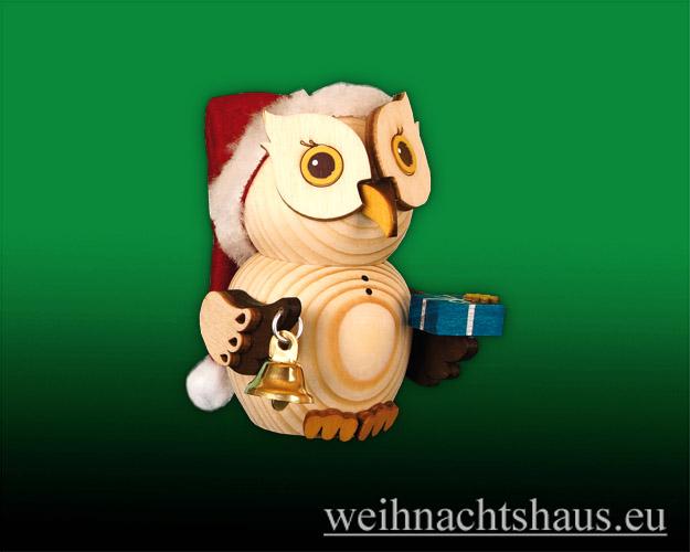 Seiffen Weihnachtshaus - Eule  klein  Eule  Weihnachtsmann - Bild 1
