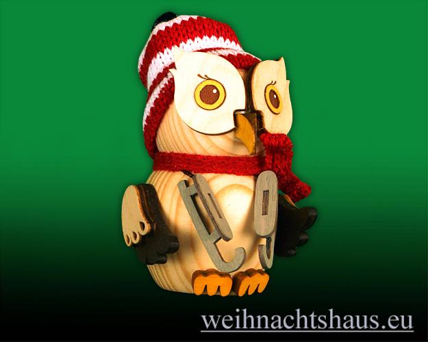 Seiffen Weihnachtshaus - Eule    klein Eule Schlittschuh Neu 2020 - Bild 1