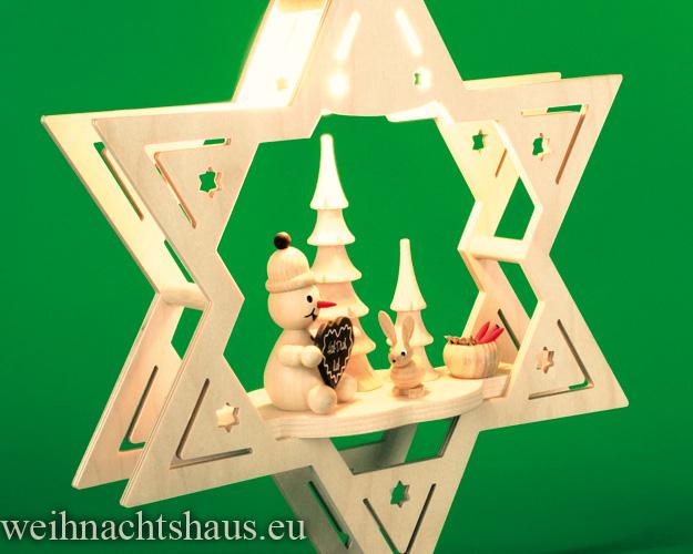Seiffen Weihnachtshaus - Fensterbild  beleuchtet Stern Mein Lieblingsschneemann - Bild 2