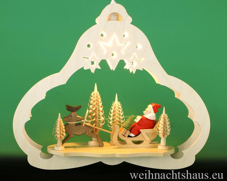 Seiffen Weihnachtshaus - Fensterbild bel.  Weihnachtsschlitten - Bild 1