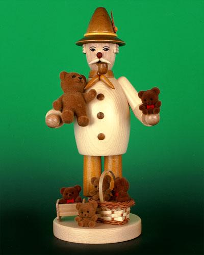 Seiffen Weihnachtshaus - <!--09-->Räuchermann Teddyhändler natur - Bild 1