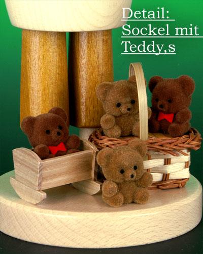 Seiffen Weihnachtshaus - <!--09-->Räuchermann Teddyhändler natur - Bild 2