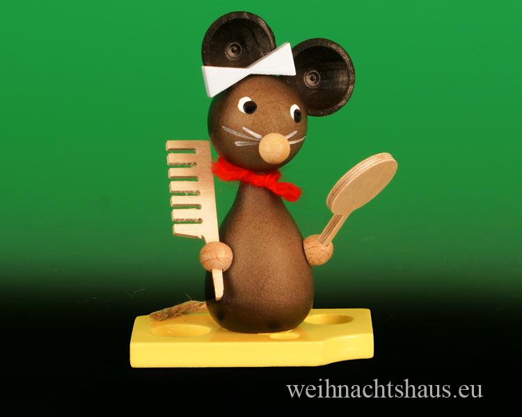 Seiffen Weihnachtshaus - Maus mit Kamm Frisoer Maus - Bild 1