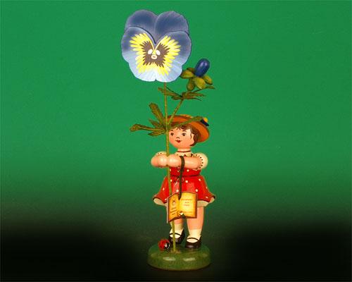 Seiffen Weihnachtshaus - Hubrig Sommerblumenkind Mädchen 24cm Stiefmütterchen Auslaufmodell - Bild 1