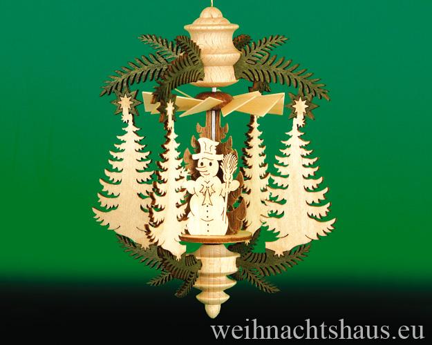 Hängepyramide Erzgebirge Minipyramide Miniaturpyramide Tanne mit Schneemann und Kinder