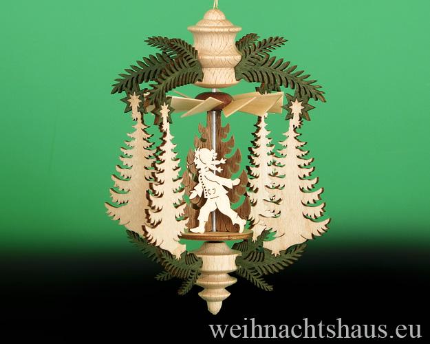 Seiffen Weihnachtshaus - Hängepyramide Tanne mit Schneemann und Kinder - Bild 2