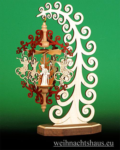 Seiffen Weihnachtshaus - Rollbaum mit Hängepyramide Engel/ Christi Geburt - Bild 1
