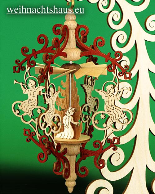 Seiffen Weihnachtshaus - Rollbaum mit Hängepyramide Engel/ Christi Geburt - Bild 2