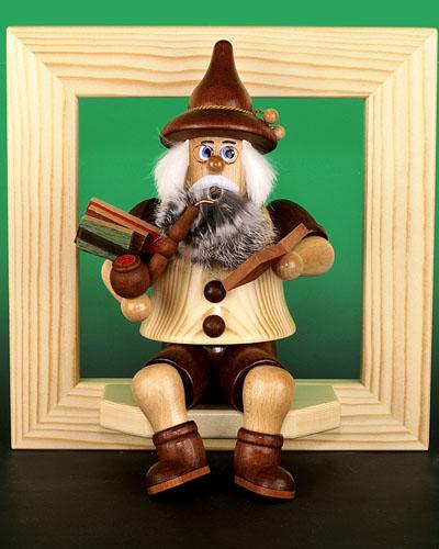 Seiffen Weihnachtshaus - <!--02-->Räuchermann Wichtel sitzend Bücherwurm - Bild 2