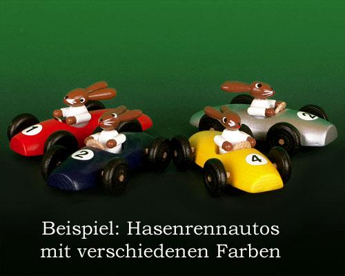 Seiffen Weihnachtshaus - Hasenrennauto klein gelb - Bild 2