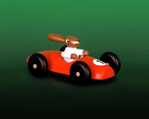 Seiffen Weihnachtshaus - Hasenrennauto klein rot - Bild 1