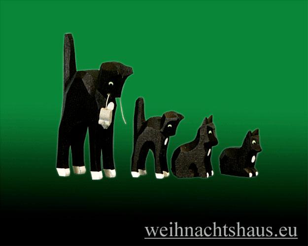 Seiffen Weihnachtshaus - Katzenfamilie geschnitzt aus Holz im Erzgebirge 4tlg. - Bild 2