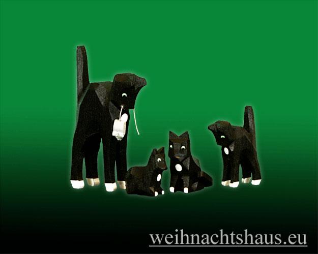 Seiffen Weihnachtshaus - Katzenfamilie geschnitzt aus Holz im Erzgebirge 4tlg. - Bild 1