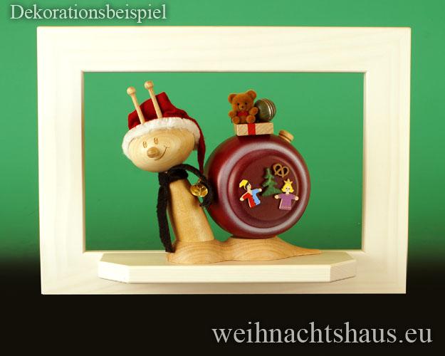 Seiffen Weihnachtshaus - Wandrahmen Fichte weiß B 33 x H 24 cm - Bild 2
