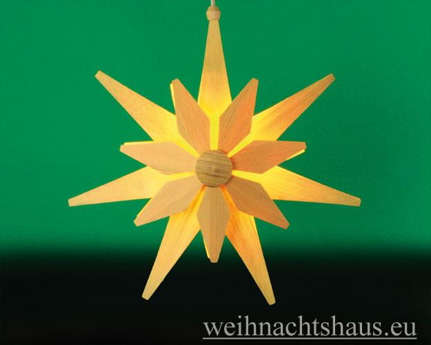 Seiffen Weihnachtshaus - Weihnachstern aus Holz natur 40 cm doppelt - Bild 1