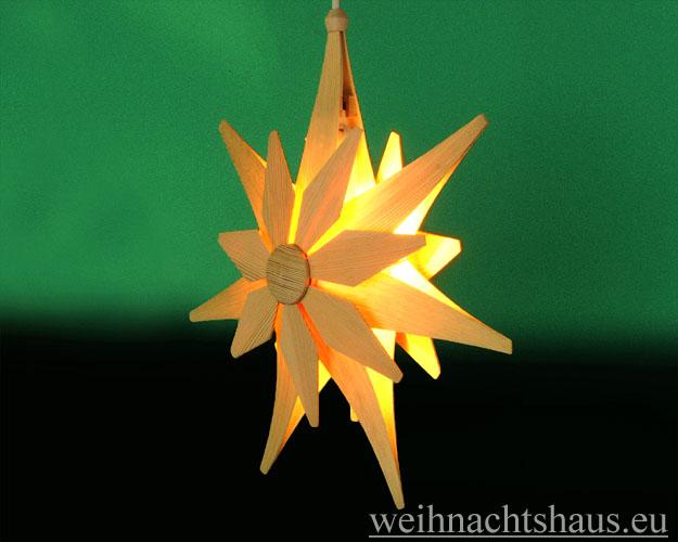 Seiffen Weihnachtshaus - Weihnachstern aus Holz natur 40 cm doppelt - Bild 2