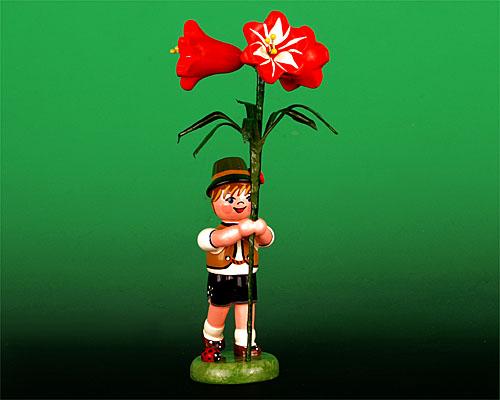 Seiffen Weihnachtshaus - Blumenjunge 11,5cm Amarylis - Bild 1