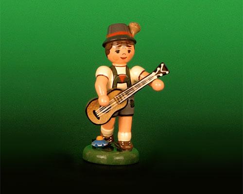 Seiffen Weihnachtshaus - Sommerhutmusikant Junge 6,5cm Gitarre - Bild 1