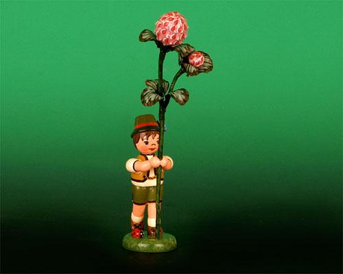 Seiffen Weihnachtshaus - Blumenjunge 11,5cm Kleeblume - Bild 1