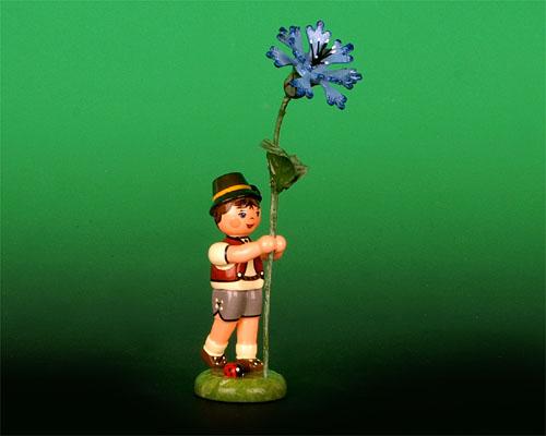 Seiffen Weihnachtshaus - Blumenjunge 11,5cm Kornblume - Bild 1