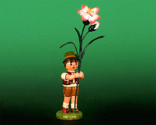 Seiffen Weihnachtshaus - Blumenjunge 11,5cm Nelke - Bild 1