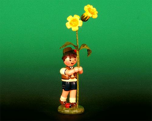 Seiffen Weihnachtshaus - Blumenjunge 11,5cm Schlüsselblume - Bild 1