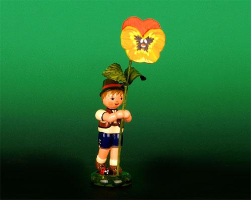 Seiffen Weihnachtshaus - Blumenjunge 11,5cm Stiefmütterchen - Bild 1