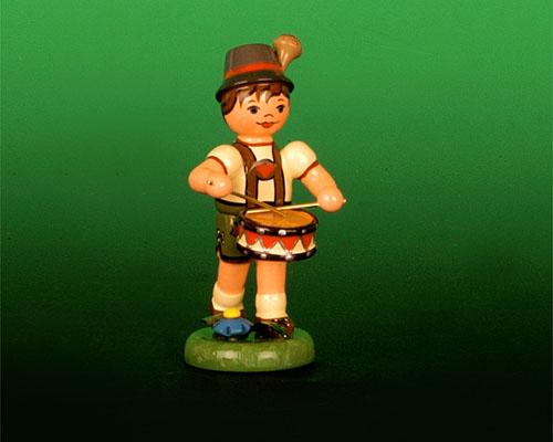 Seiffen Weihnachtshaus - Sommerhutmusikant Junge 6,5cm Trommel - Bild 1