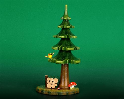 Seiffen Weihnachtshaus - Sommerbaum mit Holzstabel - Bild 1