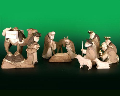 Seiffen Weihnachtshaus - Krippefiguren geschnitzt 13 tlg braun - Bild 1