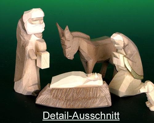 Seiffen Weihnachtshaus - Krippefiguren geschnitzt 13 tlg braun - Bild 2
