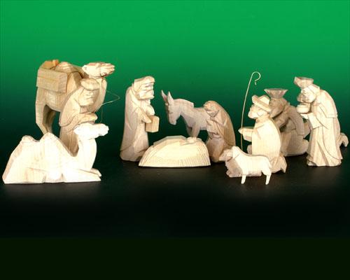 Seiffen Weihnachtshaus - Krippefiguren geschnitzt 13 tlg natur - Bild 1