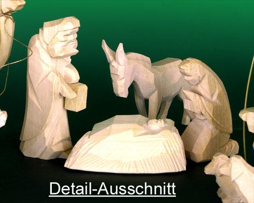 Seiffen Weihnachtshaus - Krippefiguren geschnitzt 13 tlg natur - Bild 2