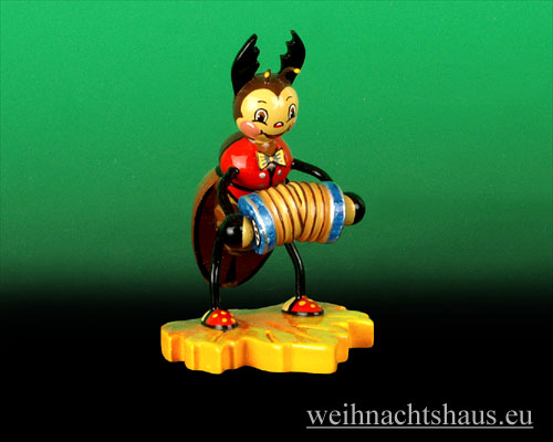 Seiffen Weihnachtshaus - Käfer Hirschkäfer Ziehharmonika - Bild 1